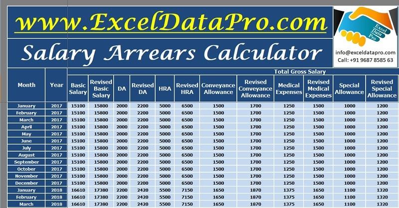 Download Salary Arrears Calculator Excel Template