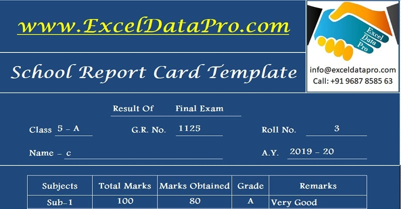 Download School Report Card And Mark Sheet Excel Template