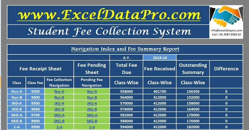 download student fee collection system excel template