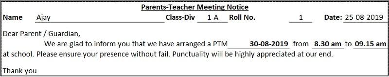 School PTM Notice Excel Template