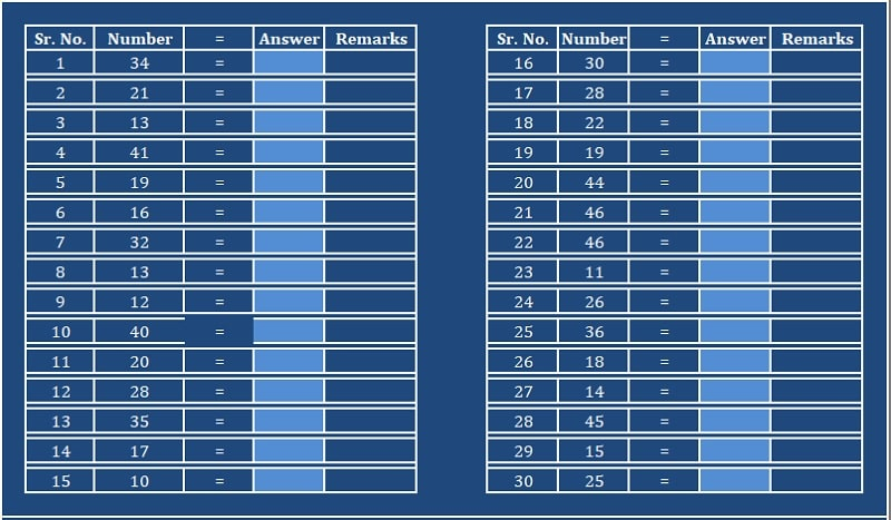 2 Digit Square Practice Sheet Excel Template