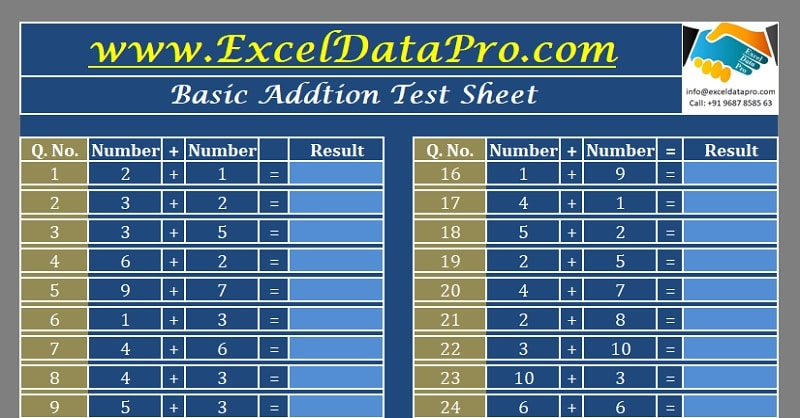 Download Basic Addition Test Sheet Excel Template