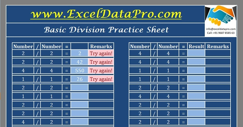 Download Basic Division Practice Sheet Excel Template