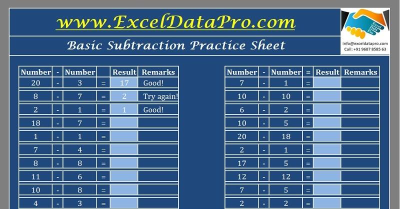 Download Basic Subtraction Practice Sheet Excel Template