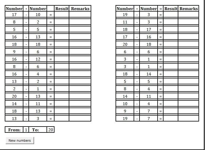Printable Basic Subtraction Practice Sheet