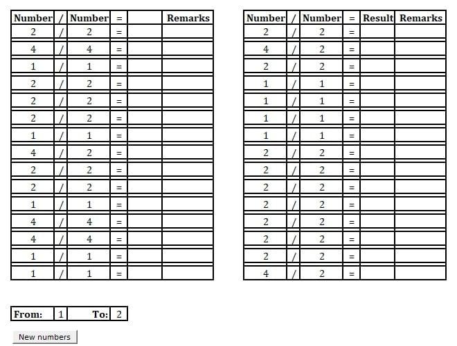 Printable Basic Division Practice Sheet