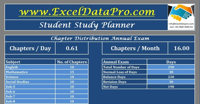 Download Student Study Planner Excel Template