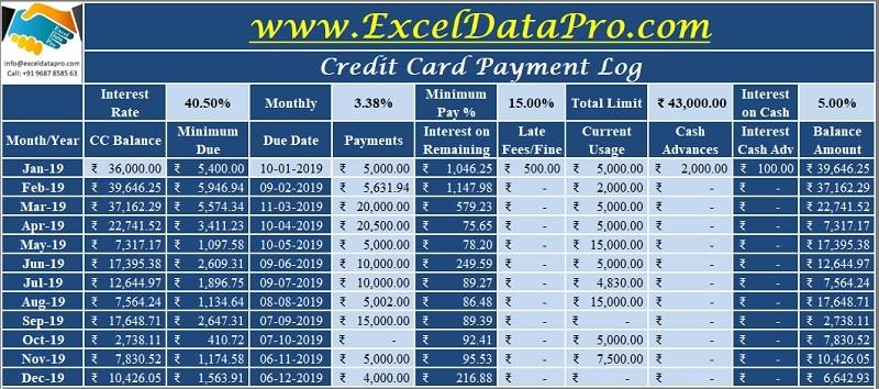 Credit Card Payment Log
