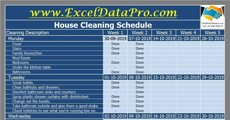 Download House Cleaning Schedule Excel Template Exceldatapro