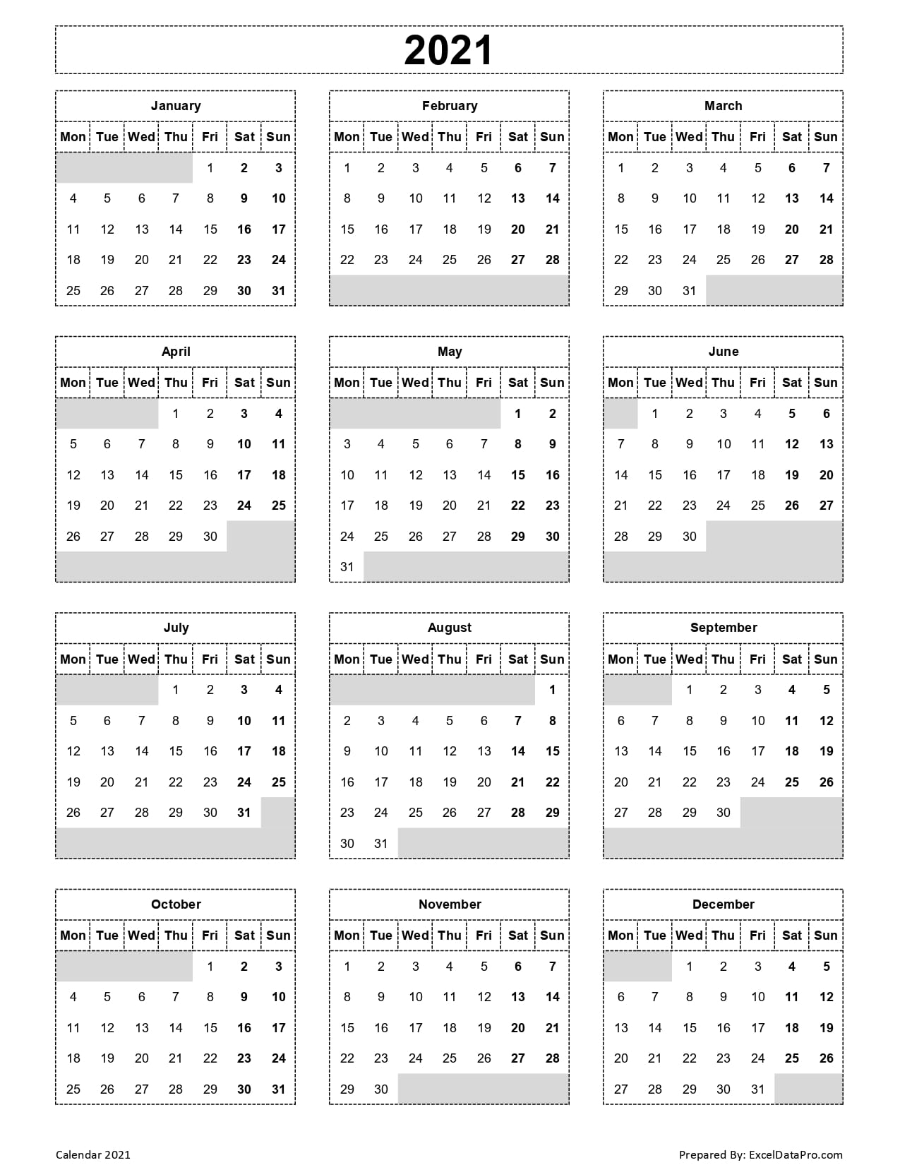 Download 2021 Yearly Calendar (Mon Start) Excel Template ...