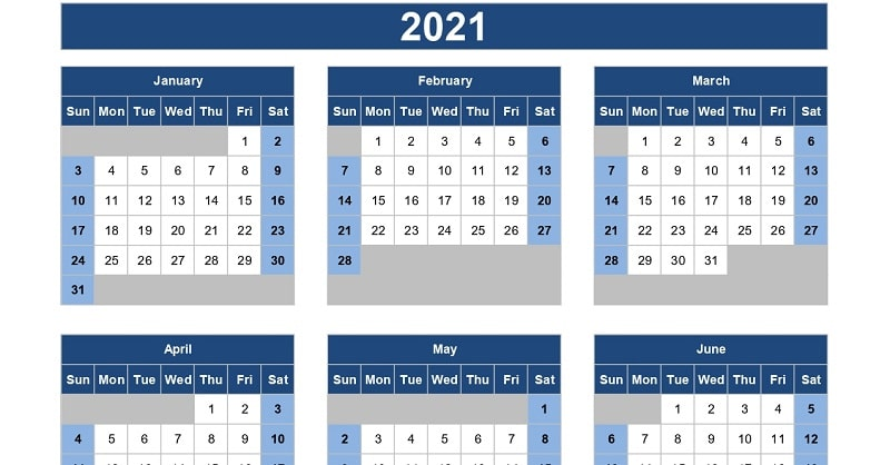 Calendar In Excel 2021 Download 2021 Yearly Calendar (Sun Start) Excel Template