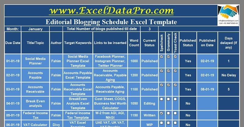 Download Editorial Blogging Schedule Excel Template