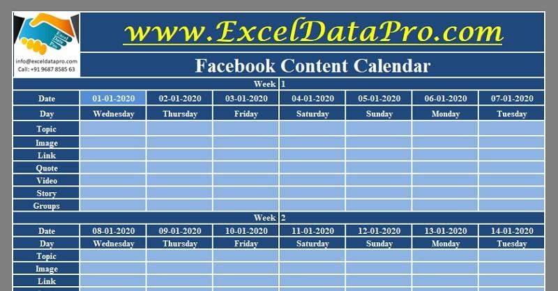 Download Facebook Content Calendar Excel Template