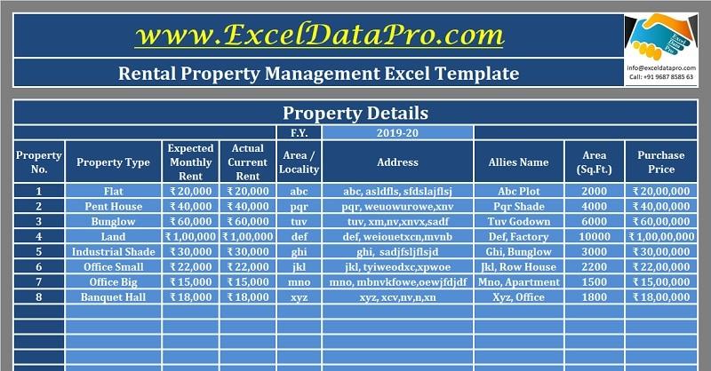 Download Rental Property Management Excel Template