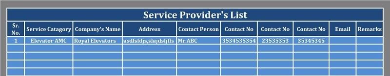 Service Provider Details