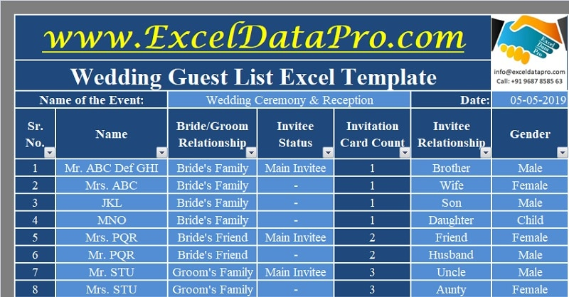Download Wedding Guest List Excel Template