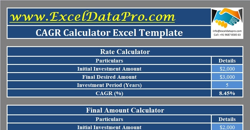 Download CAGR Calculator Excel Template