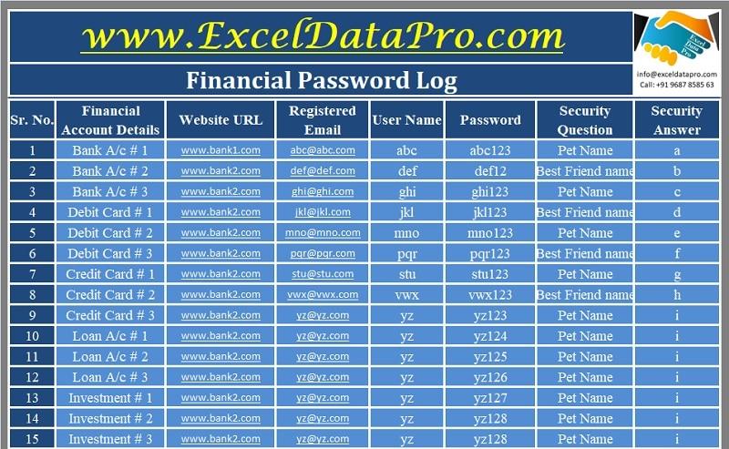 Financial Password Log