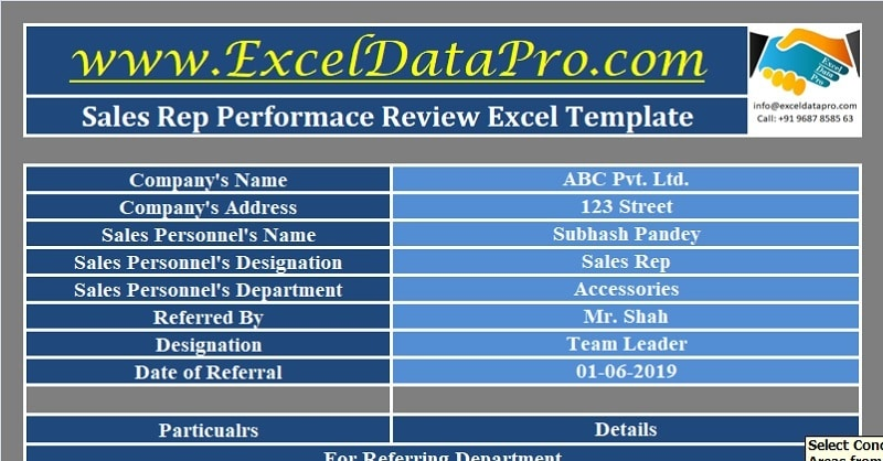 Download Sales Rep Performance Review Excel Template