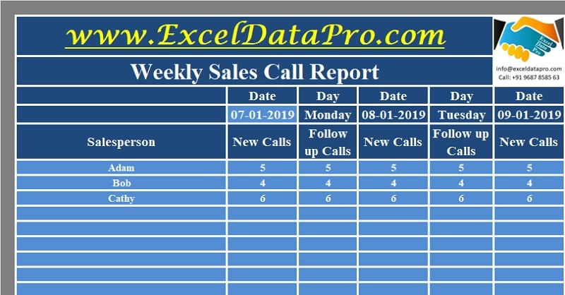 Sales Calls Report Template from exceldatapro.com
