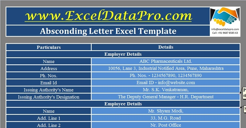 Download Absconding Letter Excel Template