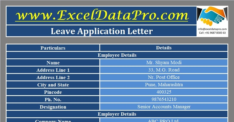 Download Casual Leave Application Excel Template
