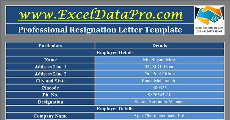 Download Professional Resignation Letter Excel Template