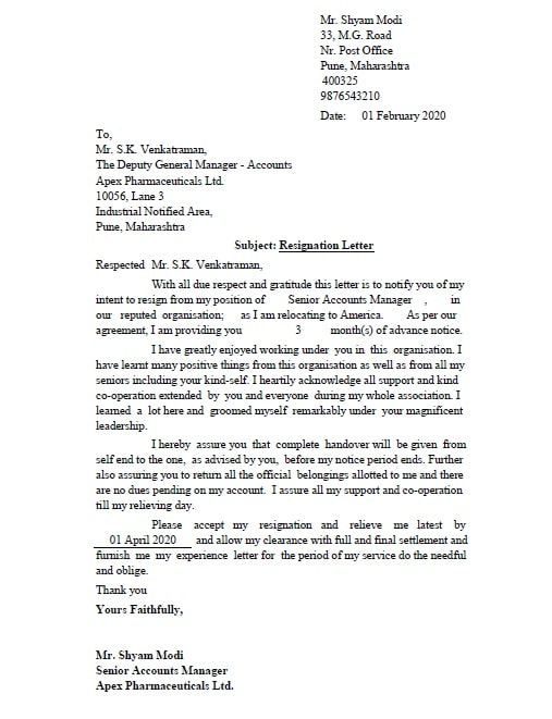 Simple Resignation Letter Sample Doc from exceldatapro.com
