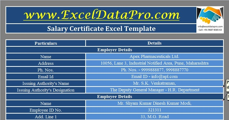 Download Salary Certificate Format Excel Template