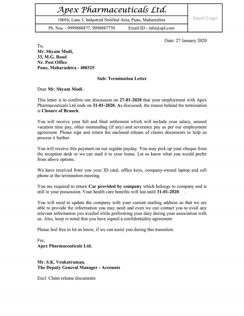 Sample Attorney Termination Letter from exceldatapro.com