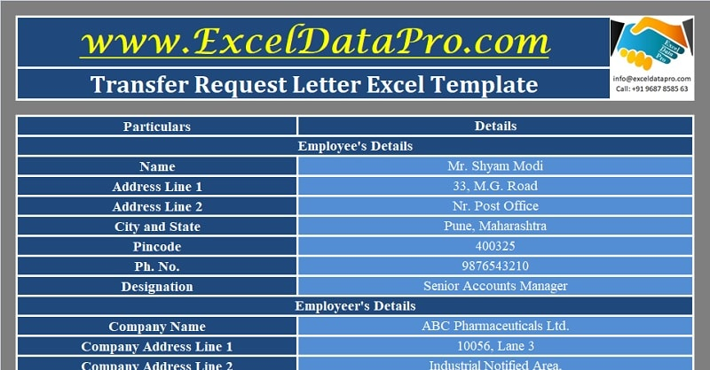 Download Transfer Request Letter Excel Template