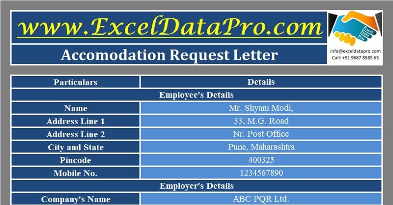 Download Accommodation Request Letter Excel Template