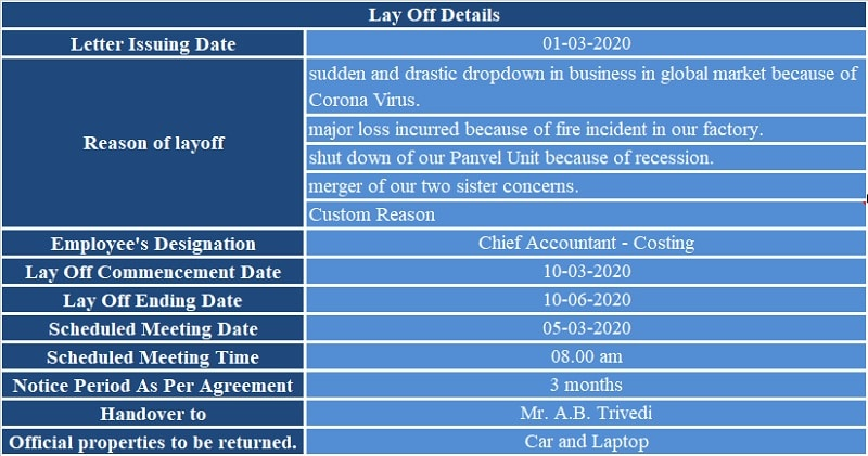 Layoff Notice Letter