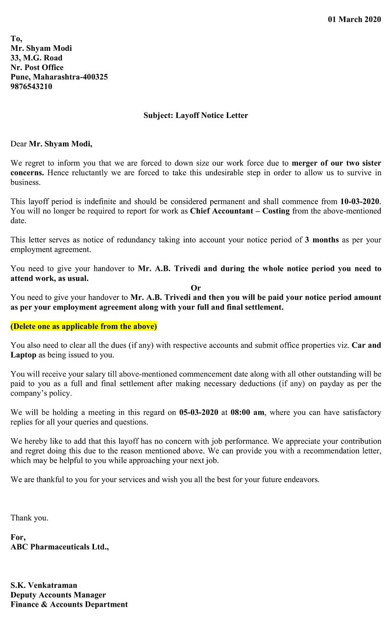 Permanent Layoff Notice Letter - Major Loss