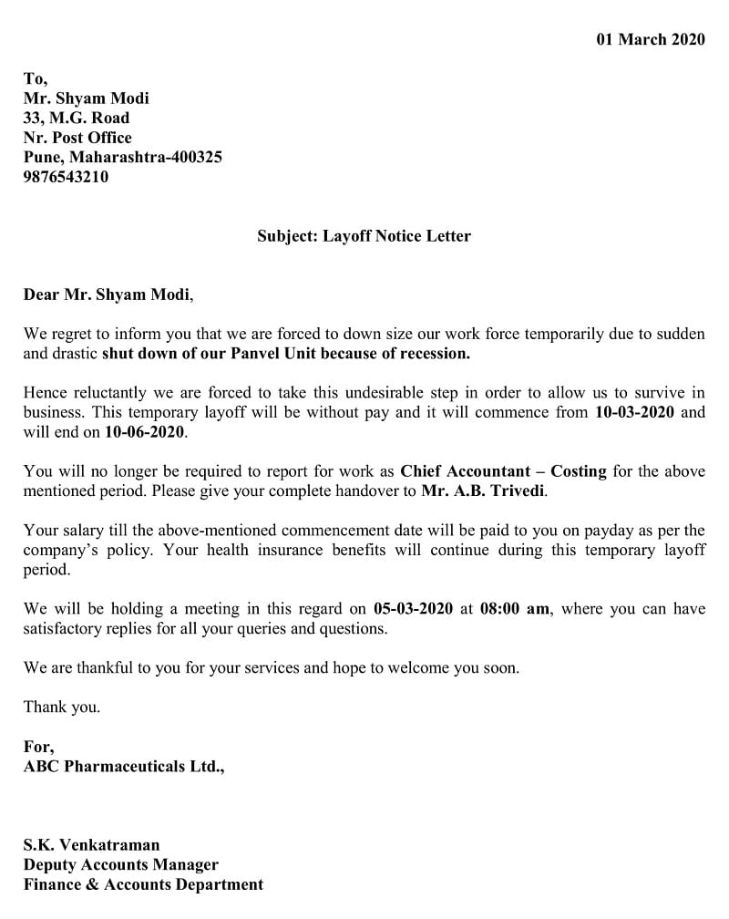 Temporary Layoff Notice Letter - Recession