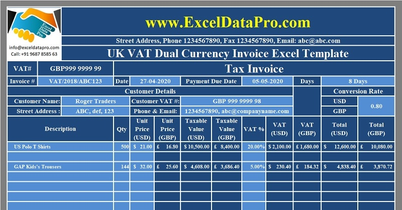 Download Uk Vat Dual Currency Invoice Excel Template Exceldatapro