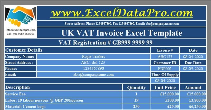 Download Uk Vat Invoice Excel Template Exceldatapro